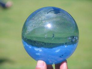 画像1: カラークリスタルボール 水色 100mm