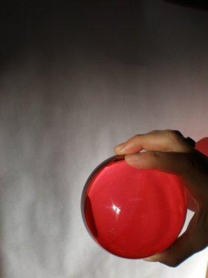 画像1: カラークリスタルボール レッド 90mm